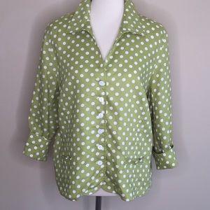 Talbots Green  Button Up Linen Blouse Sz 18